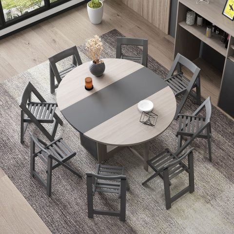Folding round dining table with 4 chairs