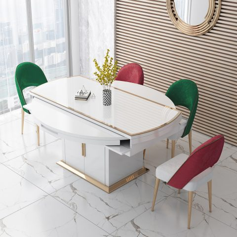 White color folding diing table