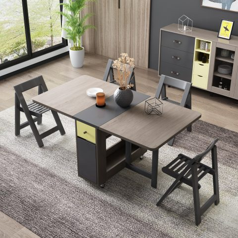 Folding dining table with 4chairs