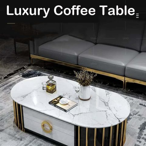 Marble Coffee Table in stainess steel